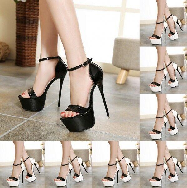 Bottes Haute chaussures à Talon Aiguille Plateforme Bride Cheville Couleur coutures Sandales Neuf
