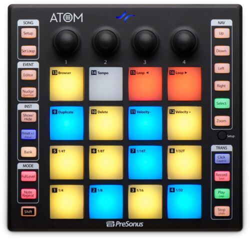 PreSonus ATOM Produktion Performance Controller RGB-LED-Pads Studio One Artist