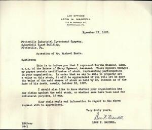 1937 Pottsville Pennsylvania (PA) Letter Law Offices of Leon N. Mandell