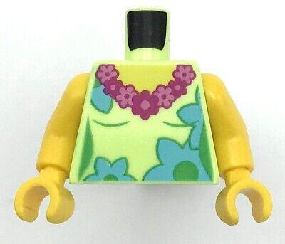 Lego New Yellowish Green Minifigure Torso Female Lei Flowers Beach Pattern