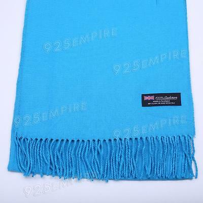 Pure Cashmere Stole made in Scotland in Light Blue