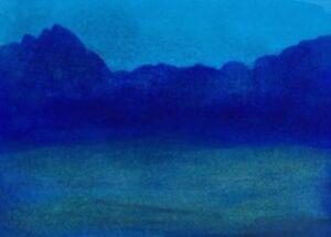 BLUE-LAKE-LANDSCAPE-Miniature-ACEO-Pen-Ink-Painting-2-5x3-5-Julia-Garcia-NEW