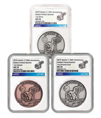 1969-2019 Apollo 11 Robbins Medal 1oz Silver-Plt Medal NGC GEM Unc FDP SKU55230