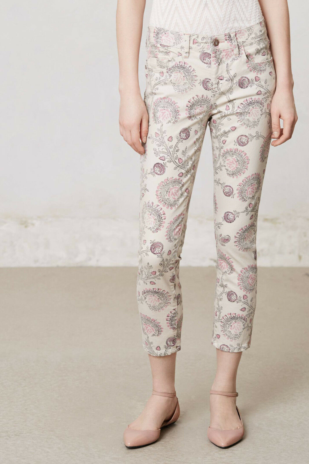 Pilcro Stet Slim Cropped Jeans Pants Sizes 30, 32 Neutral NW ANTHROPOLOGIE Tag