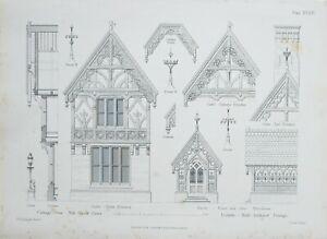 1868-Architektonisch-Aufdruck-Huette-Orne-Muehle-Gruen-Essec-Gable-Vorne-Elevation