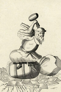 Japon-Japn-Religion-Daikoku-Plutus-Idole-gravure-ancienne-Bernard-Picart
