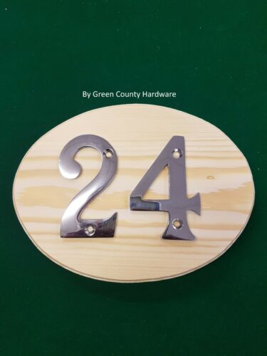 HOUSE DOOR NUMBER NUMERALS NUMBERS 180mm oval PINE Plaque for TWO
