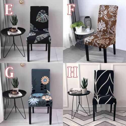 1//2//4 PCS Printed Chair Cover Removable Seat Protector For Wedding Dining Chairs