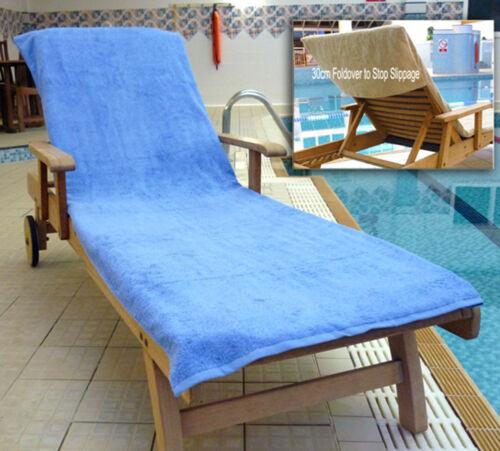 2xNon Slip Fold Over Sun Lounger Swimming Beach Massage Towel Chl Resistant BLUE