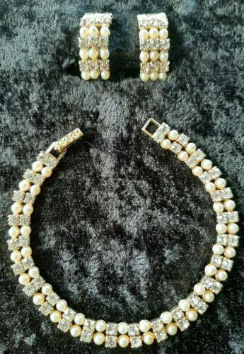 Vintage KRAMER Tennis Bracelet/Earrings Rhinestone