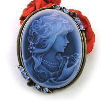 Royal Blue Cameo Brooch Pin Pendant Costume Jewelry