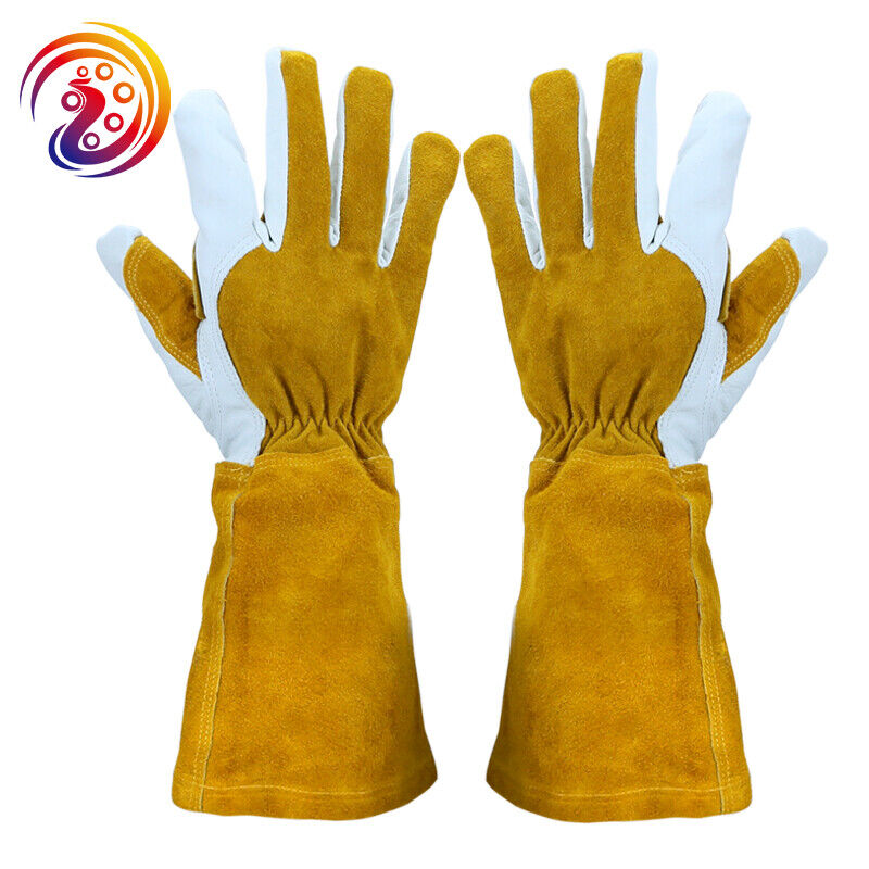 14 inch Genuine Cowhide Leather Welding Gloves Mig Tig BBQ Grill One Size