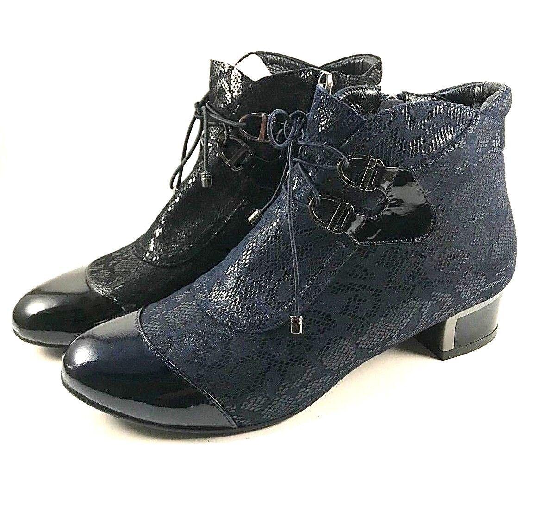 BoNavi NO561B355 Printed Leather Round Toe Low Heel Ankle Bootie Choose Sz/Color