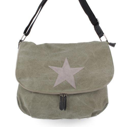 Messenger Cross Bag Umhänge Schul Tasche Leder Canvas Jeans Stoff Shopper Stern