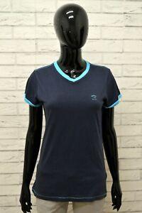 Maglia-DIESEL-Donna-Taglia-Size-M-Maglietta-Shirt-Woman-Cotone-Manica-Corta-Blu