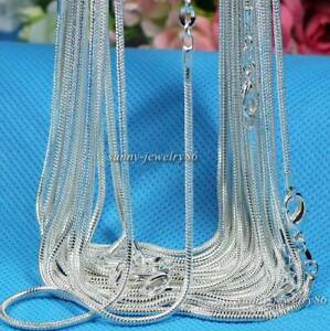 XMAS 925sterling solid silver Lots 10PCS 1mm snake chain necklace 16-30inch
