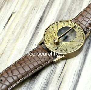 Brass Antique Marine Collectible Wrist Watch Sundial Compass With Leather Strap