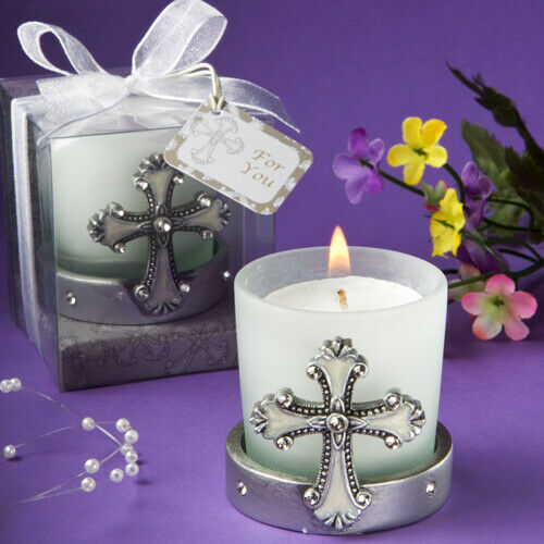 12-72 Silber Cross Candle - Religious Wedding Christening Favors