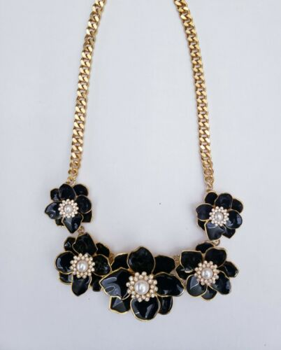 Joan Rivers black enamel crystal pearl flower bib