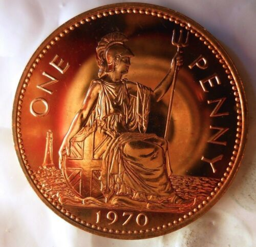 Britain Bin PR 1970 GREAT BRITAIN PENNY Great PROOF Coin FREE SHIP