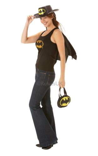 LADIES BATGIRL TOP TSHIRT T-SHIRT VEST WITH CAPE BATMAN SUPERHERO FANCY DRESS