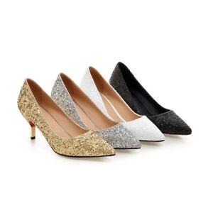 0b236ac2f54c Image is loading Womens-Kitten-Heel-Shoes-Gold-Silver-Black-White-