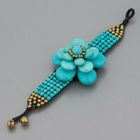 Turquoise Floral Design Beaded Bell Statement Boho Style Bracelet