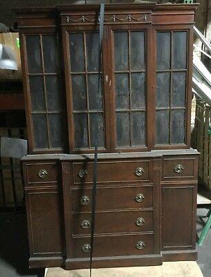 Antique Maddox Tables Colonial Hutch China Cabinet No.1029 1/2 Convex Glass  Rare | EBay