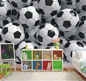 3d ballons de foot papier peint mural chambre coucher gar ons football photo ebay. Black Bedroom Furniture Sets. Home Design Ideas
