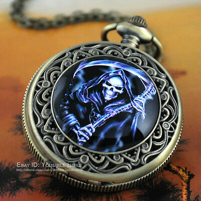 Unique Skull Death Bronze Flowers ENAMEL Painting Pocket Watch Quartz Steampunk