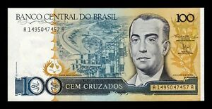 B-d-m Brasil Brazil 100 Cruzados 1986-1988 Pick 211b Sign 24 Sc Unc