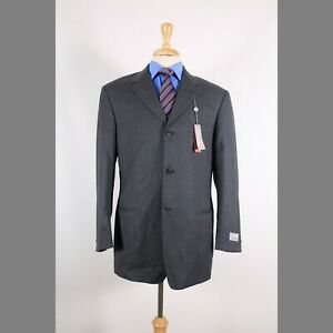 Pierre-Cardin-40R-Gray-Solid-Wool-3B-Sport-Coat-Blazer-Suit-Jacket-90-8