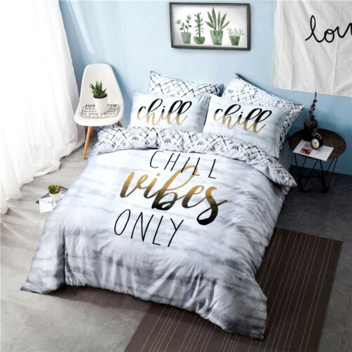 Chill Vibes Slogan Duvet Quilt Print Reversible Set Cover + Pillow Case bedding