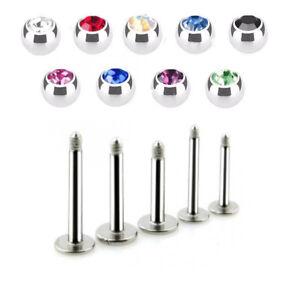 2-PC-16G-CZ-Gem-Steel-Labret-Helix-Tragus-Lip-Chin-Piercing-Monroe-Ear-Stud-Ring