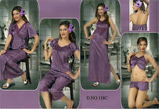 Hot Sleep Wear 6p Bra Pant Top Capri Nighty & OC 118C Wine Babydoll Bed Robe Set