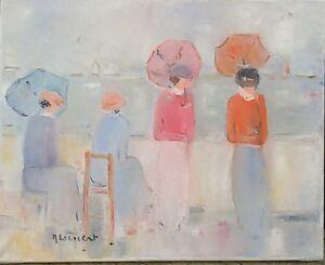 Monique-Leinert-huile-sur-toile-Elegantes-rouge-et-bleu