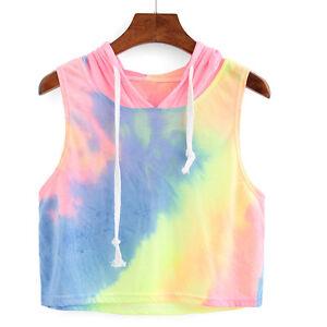 Women-Pullover-Charming-T-Shirt-Sleeveless-Hooded-Casual-Blouse-Shirt-Tank-Top