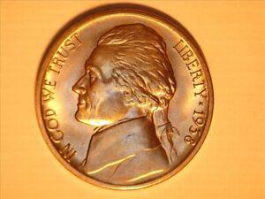 #A 1938-s  Jefferson BU Nickel  nice coin
