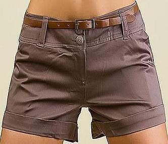 SHORT Hose kurz BRAUN schwarz weiss beige HOT PANTS Damen XXXS XXS XS S M L XL