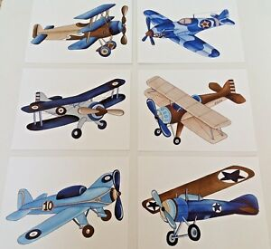 Details About Vintage Airplanes Boy Nursery Wall Art Prints Kids Pictures Paintings Decor