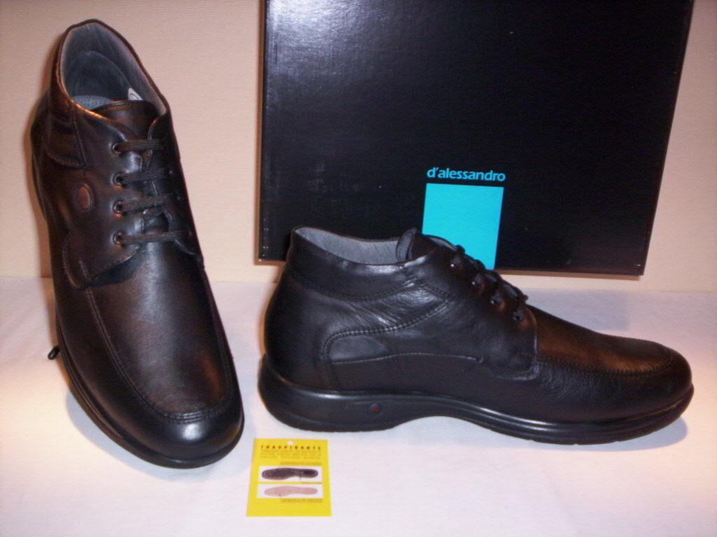 Klassische Schuhe hoch Stiefel D'Alessandro Herren Desert Stiefel Leder schwarze