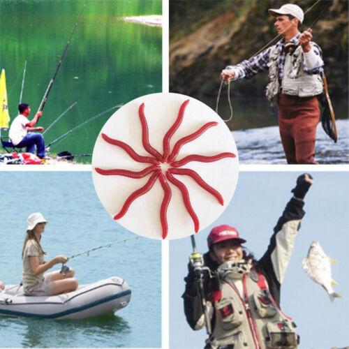 50Pcs Red Earthworm Fishing Bait Worm Lures Crankbaits Hooks Baits Tackle Aut