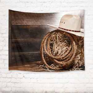 5922d69a44e51 Image is loading Rustic-Board-Cowboy-Straw-Hat-Tapestry-Wall-Hanging-