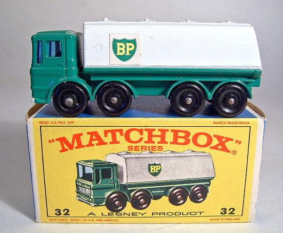 Matchbox No.32C Leyland Tanker green white  BP  rare white plastic base m b
