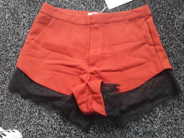 ** Ruggine Arancione/nero Pizzo Pantaloncini. Taglia S/8. Nuovo Con Etichetta Anche Altri Oggetti **