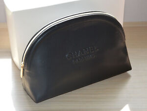 2020-compliment-Chanel-Parfums-black-faux-leather-makeup-bag-RARE