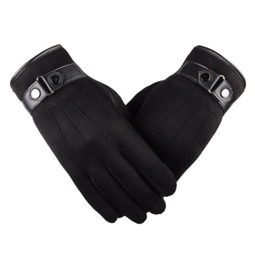 Stylish Men Women Winter Gloves Suede Leather Fleece Thermal Touch Screen Gloves