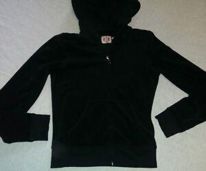 Women s Juicy Couture Zip Up Hoodie Sweatshirt SZ Small Black ... 0e5553231f