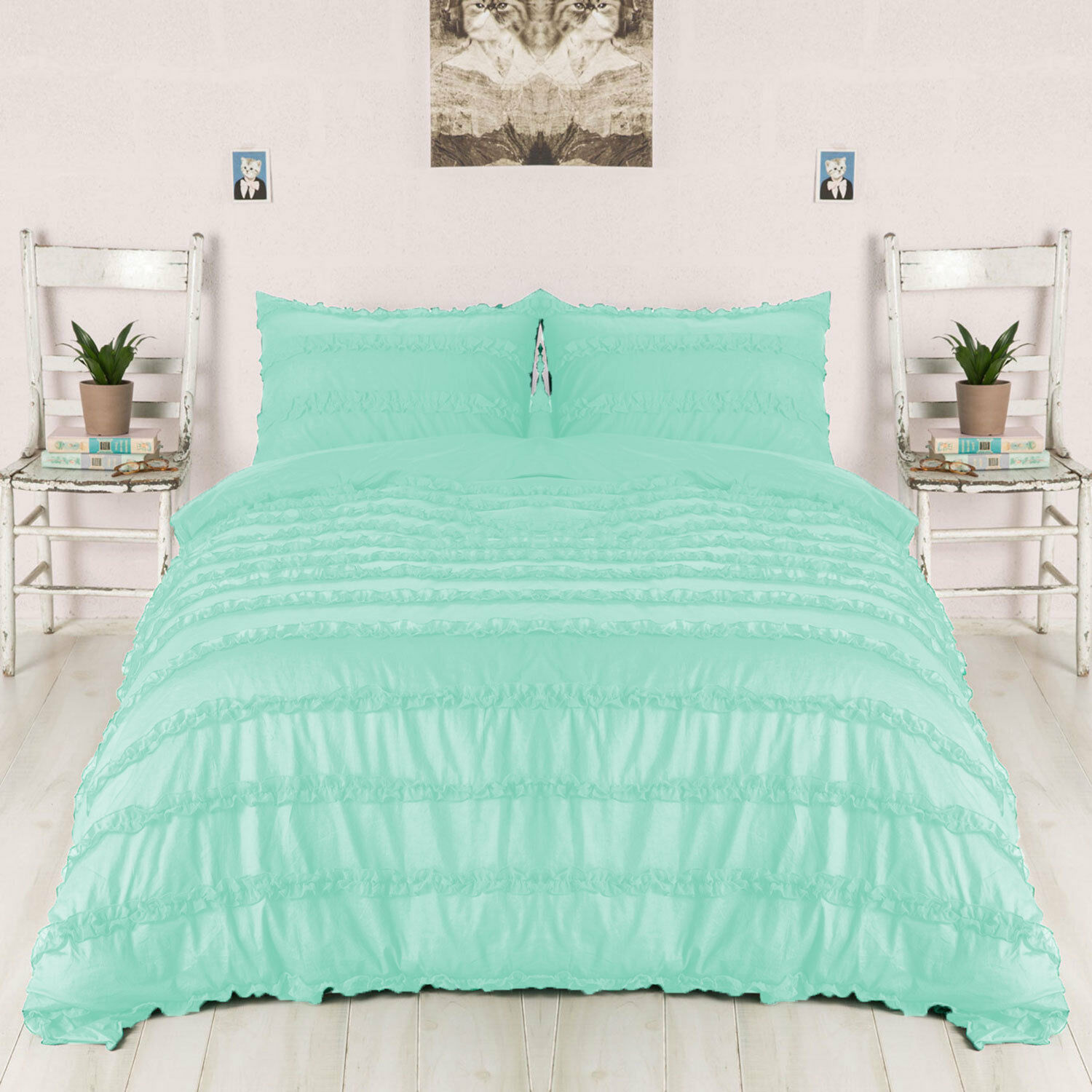 1 Piece Horizontal Ruffle Duvet Cover 100% Egyptian Cotton All size & color
