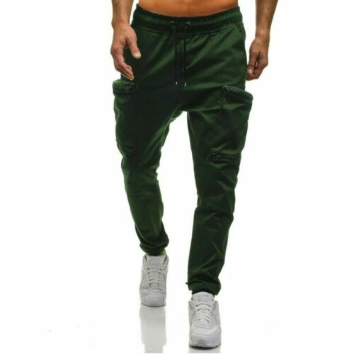 Fashion Men Gym Slim Fit Cargo Combat Long Pants Casual Jogger Pencil Trousers
